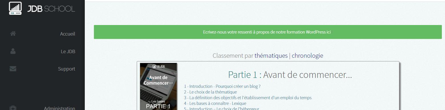 Plateforme de formatino WordPress JDBSchool